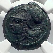 Syracuse Sicily 375BC Tyrant Dionysios Greek Coin ATHENA HIPPOCAMP NGC i77297