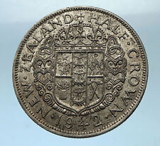 1942 NEW ZEALAND under UK King George VI Silver 1/2 Crown Coin Shield i68526
