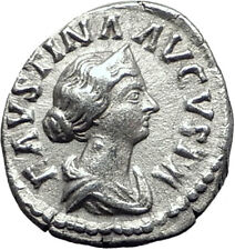 FAUSTINA II Jr  161AD Silver Authentic Ancient Roman Coin Throne Children i64470
