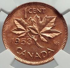 1953 CANADA United Kingdom Queen Elizabeth II Maple Leaf 1 Cent NGC Coin i77262