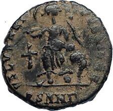 ARCADIUS Authentic 383AD Ancient Roman Coin w VICTORY ANGEL & CROSS i67185