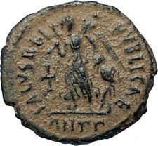 ARCADIUS Authentic 383AD Ancient Roman Coin w VICTORY ANGEL & CROSS i67027