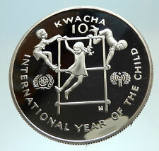 1980 ZAMBIA African Year of Children Genuine Proof Silver 10 Kwacha Coin i76807