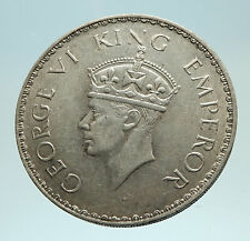 1941 INDIA UK States King George VI Genuine Silver Rupee Indian Coin i76815