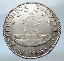 1846 BOLIVIA LARGE w SIMON BOLIVAR Llamas Tree Antique Silver 8 Sol Coin i73841