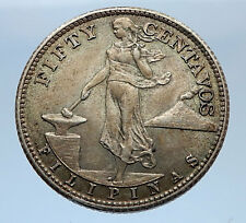 1944 S PHILIPPINES - FIFTYCentavos United States of America Silver Coin i69344