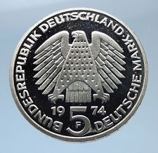 1974 F GERMANY 25 Years of German Federal Constitution Law Silver 5 Mark i69380