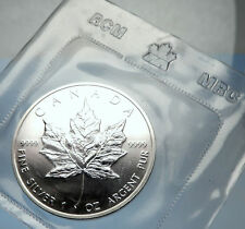 1989 CANADA Authentic Silver 1oz Coin UK Queen Elizabeth II & MAPLE LEAF i70905
