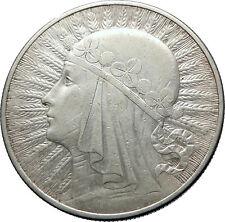 1932 POLAND Queen Jadwiga & Eagle Polish Antique Silver 10 Zlotych Coin i73866