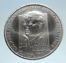 2005 GERMANY Author Pacifist Bertha von Suttner Genuine Silver 10EU Coin i75187