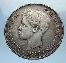 1898 SPAIN - Antique Silver 5 Pesetas Coin - Spanish King ALFONSO XIII i68963
