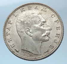 1915 SERBIA with King Peter Petar I Antique Silver 1 Dinar Serbian Coin i73945