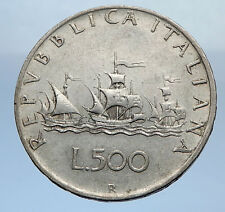 1959 ITALY - CHRISTOPHER COLUMBUS DISCOVER America SILVER Italian Coin i69864