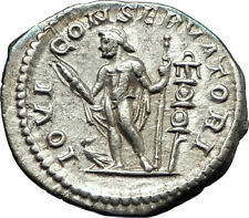 ELAGABALUS 219AD Rome  Ancient Silver Roman Coin Nude Jupiter Zeus i76521