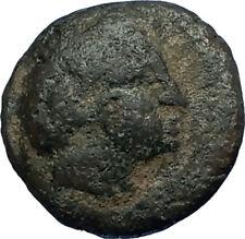 Orthagoreia in Macedonia 350BC RARE R1  Ancient Greek Coin APOLLO HELMET i68657