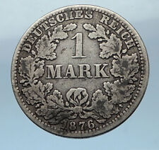 1876 A - WILHELM I of GERMANY - 1 Mark - German Empire Silver Coin Eagle i68250