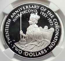 1973 COOK ISLANDS Proof Silver 2 Dollars Coin ELIZABETH II Coronation NGC i72140