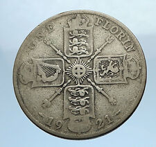 1921 United Kingdom Great Britain GEORGE V Silver Florin 2 Shillings Coin i69744