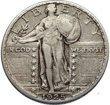 1925 Standing Libery Silver Quarter Dollar 25 Cents US United States Coin i66936