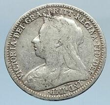1901 UK Great Britain United Kingdom QUEEN VICTORIA 3 Pence Silver Coin i74321
