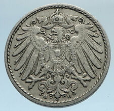 1911 G GERMANY 5 Pfennig Antique German Empire Coin of King WILHELM II i74345