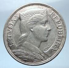 1931 LATVIA w Female Headwear 5 Lati LARGE Vintage Silver European Coin i73911