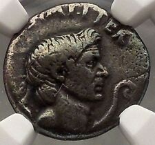 Julius Caesar Enemy Pompey the Great son Sextus NGC VF Silver Roman Coin i57690
