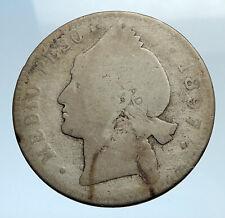 1897 DOMINICAN REPUBLIC Silver Liberty LIBERTO Arms Antique Silver Coin i74347