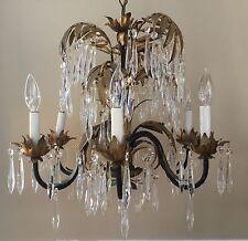 Antique Vintage Art Nouveau Deco Palm Frond Crystal Chandelier Italian Tole