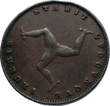 1839 ISLE of MAN Antique COPPER FARTHING Coin TRISKELES Queen Victoria i71893
