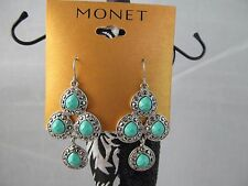 Nwt Monet Silver Turquoise Hemae Chandelier Earrings Stunning