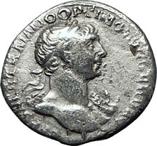 TRAJAN  116AD Rome Authentic Genuine Ancient Silver Roman Coin VIRTUS i70293