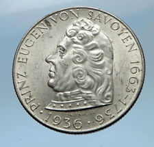 1936 AUSTRIA Silver 2 Schilling PRINCE EUGEN OF SAVOY Austrian Eagle Coin i68960