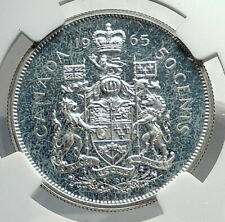 1965 CANADA UK Queen ELIZABETH II Unicorn Old Silver 50 Cents Coin NGC i77264