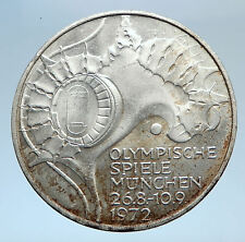 1972 Germany Munich Summer Olympic Games Stadium 10 Mark Silver Coin i74037