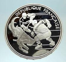 1991 FRANCE Hockey Goat 1992 Olympics Proof Silver 100 Francs Coin i76883