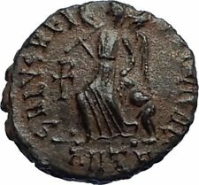 ARCADIUS Authentic 383AD Ancient Roman Coin w VICTORY ANGEL & CHI-RHO i67188