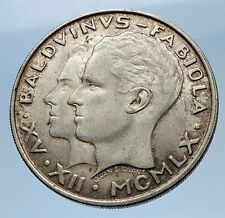 1960 BELGIUM King Baudouin I Marriage Queen Fabiola Silver 50 Francs Coin i69619