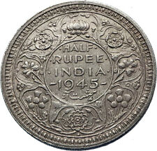 1945 INDIA States Silver 1/2 RUPEE Indian Coin UK George VI Vintage Coin i71836