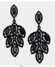 2 75 Long Black Jet Drop Austrian Crystal Pageant Rhinestone Earrings Formal