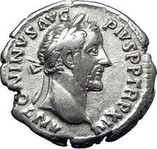 ANTONINUS PIUS 148AD Rome Authentic  Ancient Silver Roman Coin GENIUS  i70296