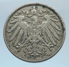 1902 J GERMANY 10 Pfennig Antique German Empire Coin of King WILHELM II i74315