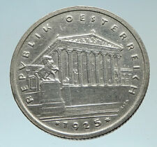 1925 AUSTRIA Parliament in Vienna Edelweiss Antique Silver Shilling Coin i75387