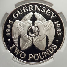 1985 GUERNSEY Channel Island LIBERATION Silver Proof  2 Pounds Coin NGC i71334