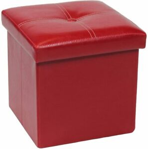 red leather storage ottomen for sale ebay