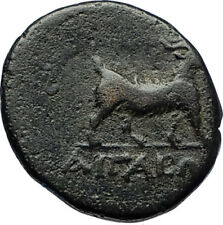 AIGAI in AEOLIS 2-1stCenBC Authentic Ancient Greek Coin APOLLO & GOAT i69708