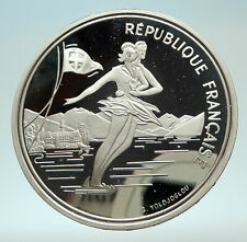 1989 FRANCE Figure Skating 1992 Olympics Proof Silver 100 Francs Coin i76883