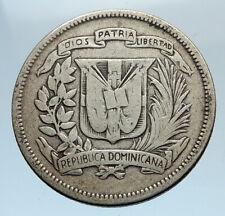 1947 DOMINICAN REPUBLIC Silver Liberty LIBERTO Arms Antique Silver Coin i74356