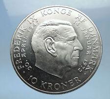 1972 DENMARK King Frederick IX & Queen Margrethe II Silver 10 Kroner Coin i68530