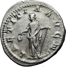 GORDIAN III 241AD Authentic Original Ancient Silver Roman Coin Laetitia i70068